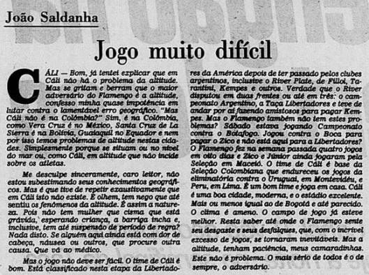 João Saldanha em Jornal do Brasil, 2 de outubro de 1981